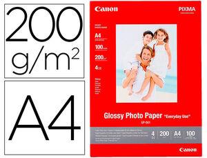 PAPEL FOTO CANON A4 BRILLANTE 200GR/M2 PAQUETE 100 HOJAS