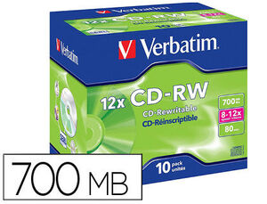 CD-RW VERBATIM CAPACIDAD 700MB VELOCIDAD 12X PACK 10 UNIDADES