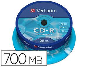 CD-R VERBATIM CAPACIDAD 700MB VELOCIDAD 52X PACK 25 UNIDADES 43432
