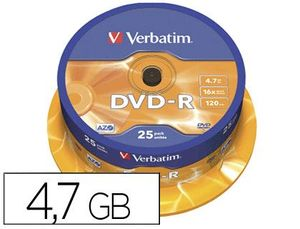 DVD-R VERBATIM CAPACIDAD 4.7GB VELOCIDAD 16X 120 MIN TARRINA DE 25 UNIDADES