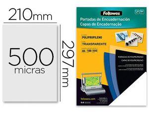 TAPA DE ENCUADERNACION FELLOWES DIN A4 POLIPROPILENO TRANSPARENTE 450 MICRAS PACK DE 100 UNIDADES