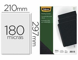 TAPA DE ENCUADERNACION FELLOWES DIN A4 PVC OPACO NEGRO 180 MICRAS PACK DE 100 UNIDADES