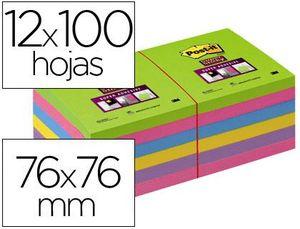 BLOC DE NOTAS ADHESIVAS QUITA Y PON POST-IT SUPER STICK ULTRA 76X76 MM PACK DE 12 BLOC VERDE ROSA AM