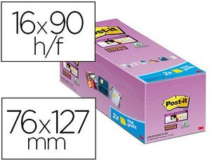 BLOC DE NOTAS ADHESIVAS QUITA Y PON POST-IT SUPER STICKY AMARILLO CANARIO 76X127 MM PACK DE 16 UNIDA