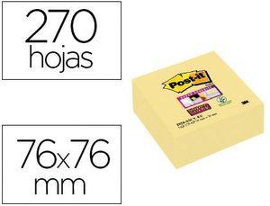 BLOC DE NOTAS ADHESIVAS QUITA Y PON POST-IT SUPER STICKY 76X76 MM CUBO CON 270 HOJAS AMARILLO CANARI