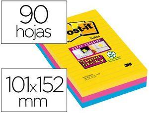 BLOC DE NOTAS ADHESIVAS QUITA Y PON POST-IT SUPER STICKY 101X152 MM CON 90 HOJAS RAYADO PACK DE 3 BL