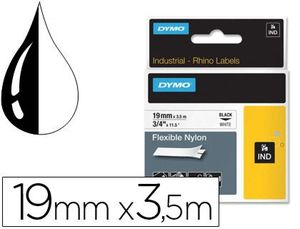 CINTA DYMO RHINO NYLON FLEXIBLE BLANCO -NEGRO 19MMX 3,5 MT TAPE LABEL