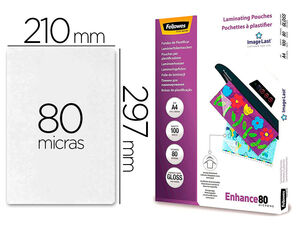 BOLSA PLASTIFICAR FELLOWES BRILLO A4 80 MICRAS PACK 100 UNIDADES