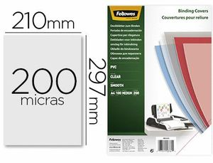 TAPA DE ENCUADERNACION FELLOWES DIN A4 PVC TRANSPARENTE CRISTAL 200 MICRAS PACK DE 100 UNIDADES
