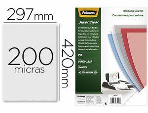 TAPA DE ENCUADERNACION FELLOWES DIN A3 PVC TRANSPARENTE CRISTAL 200 MICRAS PACK DE 100 UNIDADES