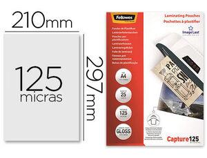 BOLSA DE PLASTIFICAR FELLOWES BRILLO A4 125 MICRAS PACK 25 UD