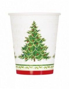 VASO CARTON CHRISTMAS TREE 270 ML. PAQ. 8 UDS.
