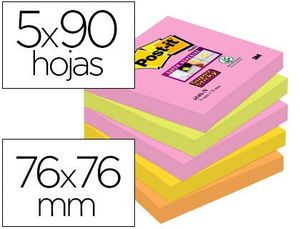 PACK POS IT SUPER STICKY 76X76 MM 90 HJ 5 COLORES SURTIDOS