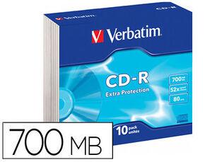 CD-ROM VERBATIM EXTRA PROTECCION CAPACIDAD 700MB VELOCIDAD 52X 80 MIN PACK DE 10 UNIDADES CAJA SLIM