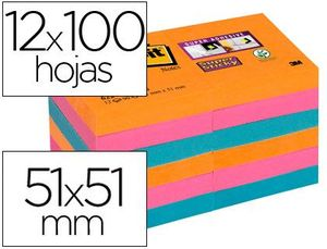 PACK 12 POS-IT 47,6X47,6 SUPER STICKY COLORES