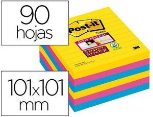 BLOC NOTAS POST-IT SUPER STICKY 101X101 MM PACK 6 BLOC COLORES