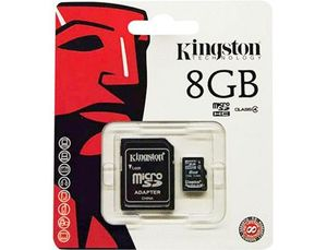 MEMORIA SD MICRO KINGSTON 8 GB CLASE 4 CON ADAPTADOR SDHC