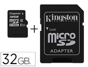 MEMORIA SD MICRO KINGSTON 32 GB CANVAS SELECT CLASE 10 CON ADAPTADOR