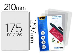 BOLSA PLASTIFICAR FELLOWES BRILLO A4 175 MICRAS PACK 100 UNIDADES