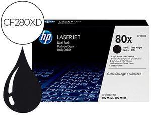 TONER HP LASERJET PRO 80X M401 M425 NEGRO PACK DE 2 UNIDADES 6900 PAGINAS
