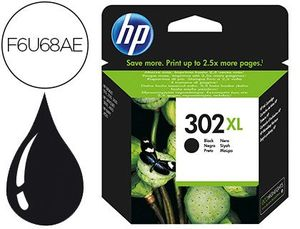 CARTUCHO INK-JET HP 302XL DESKJET 1110 / 2130 / 3630 OFFICEJET 3830 / 4650 ENVY 4520 COLOR NEGRO 480 PAG