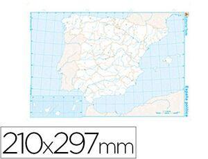MAPA MUDO B/N DIN A4 ESPAÑA -POLITICO