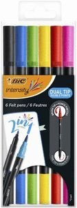 ROTULADOR BIC INTENSITY DOBLE PUNTA 6 COLORES SURTIDOS (PUNTA FINA Y PINCEL)
