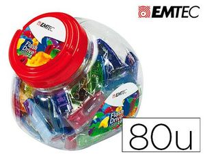 MEMORIA USB EMTEC FLASH 32GB 2.0 BOMBONERA 80 UNIDADES COLORES SURTIDOS