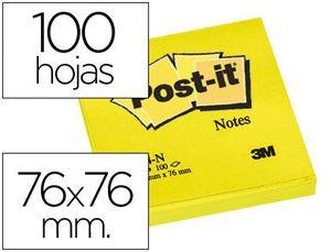 BLOC DE NOTAS ADHESIVAS QUITA Y PON POST-IT 76X76 MM AMARILLO NEON CON 100 HOJAS