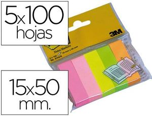 BLOC DE NOTAS ADHESIVAS QUITA Y PON POST-IT 15 X 50 MM COLORES SURTIDOS MININOTAS 670/5
