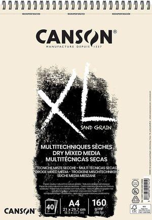 BLOC DIBUJO CANSON XL MULTITECNICAS SECAS BLANCO A4 40 HJ 160 GR