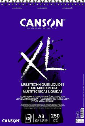 BLOC DIBUJO CANSON XL MULTITECNICAS LIQUIDAS A3 30 HJ 250 GR