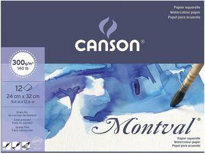 BLOC ENCOLADO CANSON ACUARELA MONTVAL FINO 24X32 CM 12 HJ 300 GR