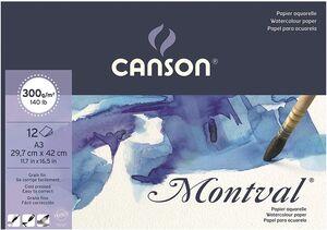 BLOC ENCOLADO CANSON ACUARELA MONTVAL FINO A3 CM 12 HJ 300 GR