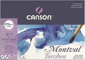 BLOC ENCOLADO CANSON ACUARELA MONTVAL TORCHON A3 CM 12 HJ 270 GR EFECTO NUBE