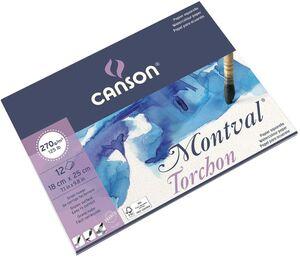 BLOC ENCOLADO CANSON ACUARELA MONTVAL TORCHON 36X48 CM 12 HJ 270 GR EFECTO NUBE