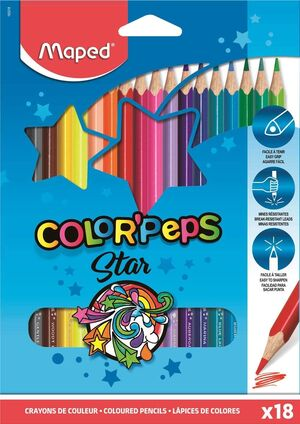 LAPICES MAPED COLORPEPS CAJA 18 COLORES SURTIDOS