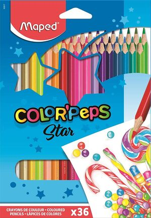 CAJA 36 LAPICES COLORPEPS MAPED COLORES SURTIDOS