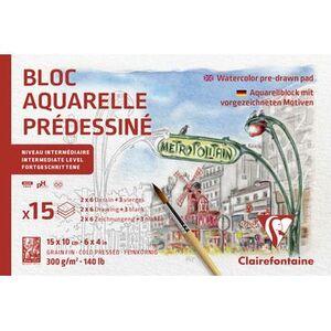BLOC DIBUJO CLAIREFONTAINE ACUARELA PARIS 10X15 CM 15 HJ 300 GR