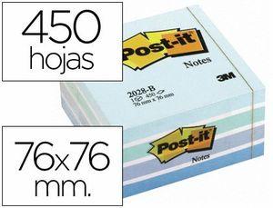 BLOC DE NOTAS ADHESIVAS QUITA Y PON POST-IT 76X76 MM CUBO COLOR AZUL PASTEL 450 HOJAS