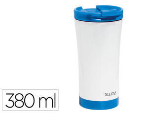 TAZA LEITZ WOW TRAVEL TERMICA DOBLE PARED ACERO INOXIDABLE CAPACIDAD 380 ML COLOR AZUL
