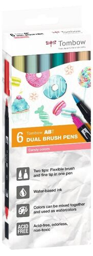 DUAL BRUSH ROTULADOR PINCEL TOMBOW ESTUCHE 6 COLORES CANDY