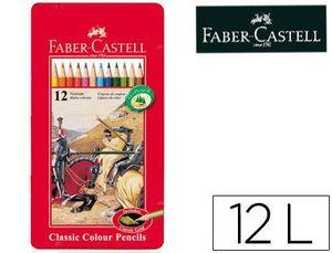 LAPICES DE COLORES FABER CASTELL CAJA METALICA DE 12 COLORES SURTIDOS
