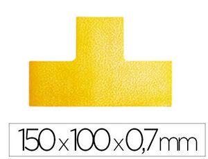 SIMBOLO ADHESIVO DURABLE PVC FORMA T PARA DELIMITACION SUELO AMARILLO 150X100X0,7 MM PACK DE 10 UNID