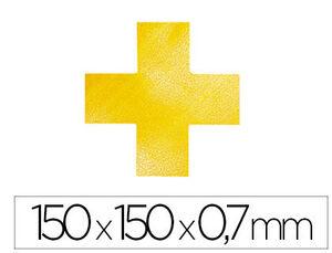 SIMBOLO ADHESIVO DURABLE PVC FORMA DE CRUZ PARA DELIMITACION SUELO AMARILLO 150X150X0,7 MM PACK DE 1