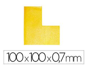 SIMBOLO ADHESIVO DURABLE PVC FORMA DE L PARA DELIMITACION SUELO AMARILLO 100X100X0,7 MM PACK DE 10 U