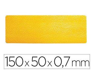 SIMBOLO ADHESIVO DURABLE PVC FORMA DE LINEA PARA DELIMITACION SUELO AMARILLO 150X50X0,7 MM PACK DE 1