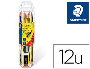 LAPICES DE GRAFITO STAEDTLER NORIS N.2 HB BLISTER PROMOCIONAL 120 ANIVERS DE 12 UDS + AFILALAPIZ Y GOMA