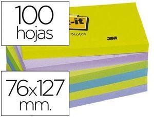 BLOC NOTAS ADHESIVAS POST-IT 76X127 MM ULTRA INTENSO PACK 6 SURTIDO
