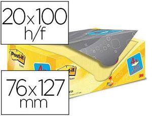 BLOC POST-IT SUPER STICKY 76X127 MM AMARILLO PACK 20+4